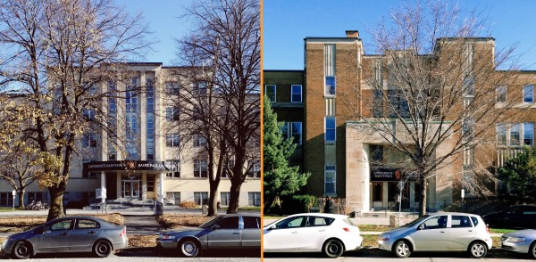 St. Paul University's Main street Buildings. Left: Philosophy (1957/LeFort). Right: Seminary (1937/LeBlanc) (Images: November 2014)