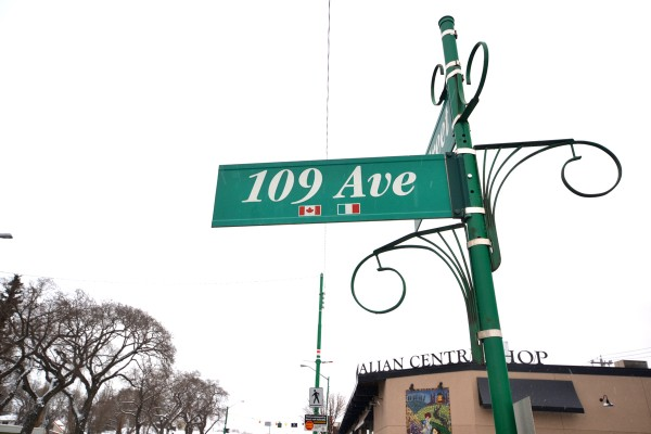 A street sign in Edmonton's Little Italy