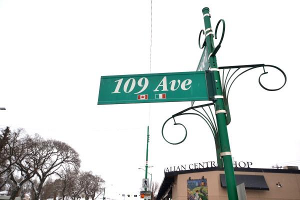A street sign in Edmonton's Little Italy