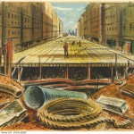 Fonds 16, Series 259 - Subway construction art work by John DeRi