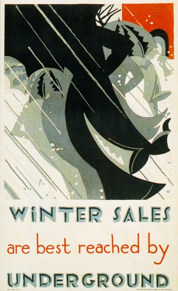 1921 Edward McKnight Kauffer. Winter Sales are best reached by Underground