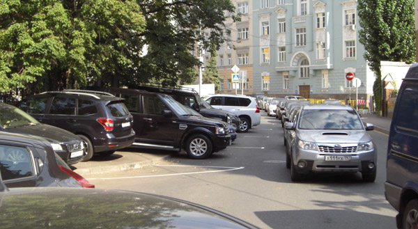 Moscow -cars parked on sidewalk