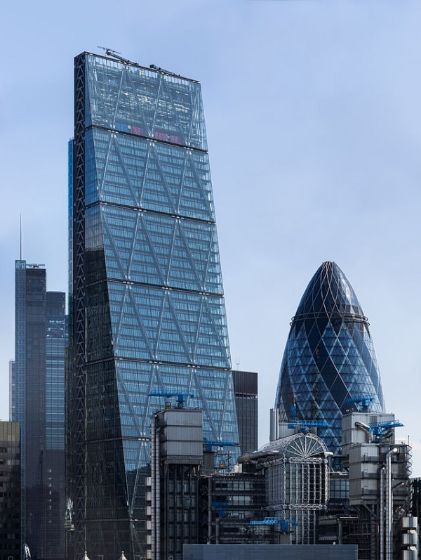 The Cheesegrater and the Gherkin playfully loom side by side in the City of London