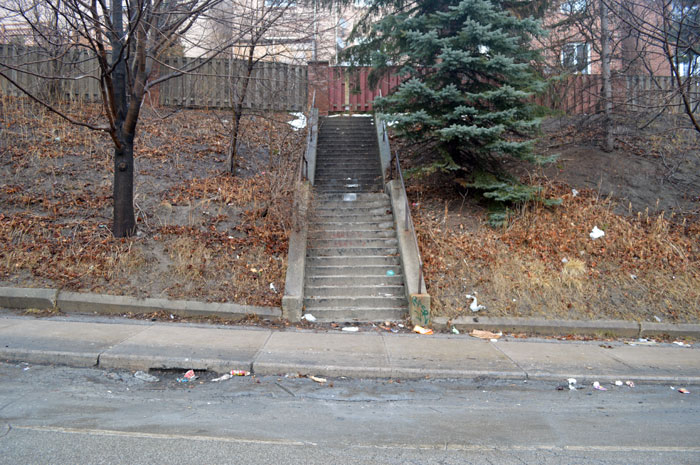The stairs on Greenwood Ave. The snow had recently melted leaving behind piles of unsightly garbage.
