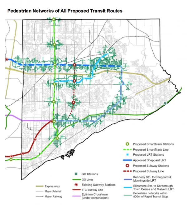 scarborough subway PED routes