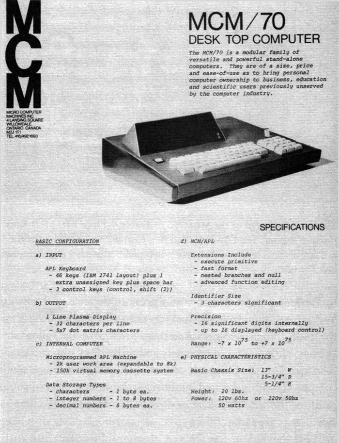 toronto mcm/70 computer