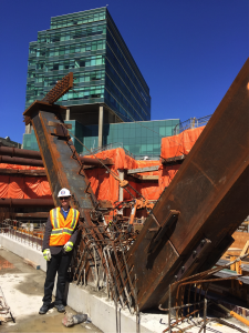 David Urwin, Construction Site Manager, York University Station stands with a V-column