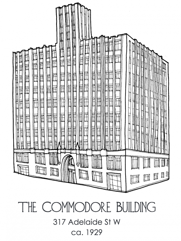 My illustration of the Commodore Building on Adelaide. Unlike Benjamin Brown, I didn't use a ruler!