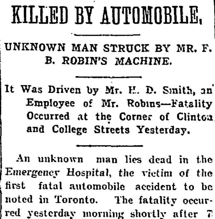 The Globe newspaper breaks news of Toronto's first pedestrian death caused by a car. June 15, 1905.