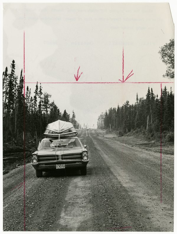 Unidentified Photographer, Along the new highway, which runs from Smooth Rock Falls to Fraserdale, Ontario, there's no sign of human habitation apart from one empty lumber camp, c.1966. Gelatin Silver Print, 23.4 x17.5cm. Gift of The Globe and Mail Newspaper to the Canadian Photography Institute of the National Gallery of Canada.