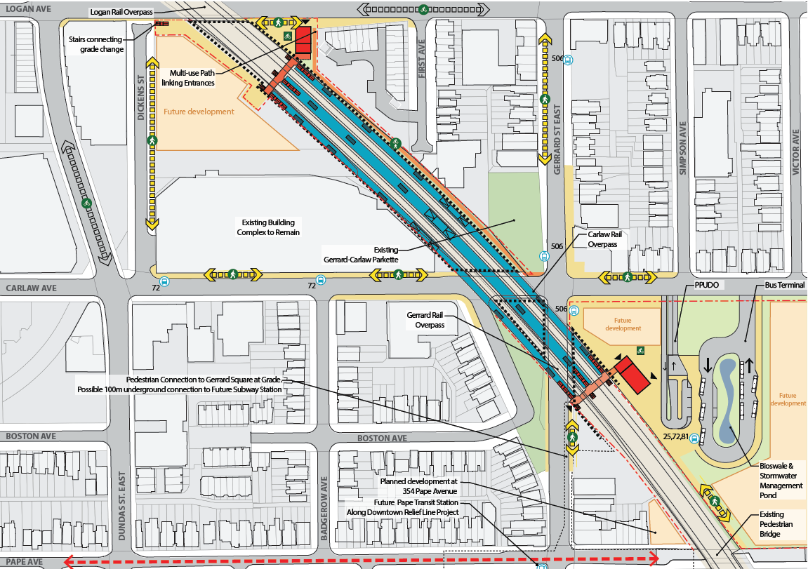 Plan for the proposed Gerrard GO Station