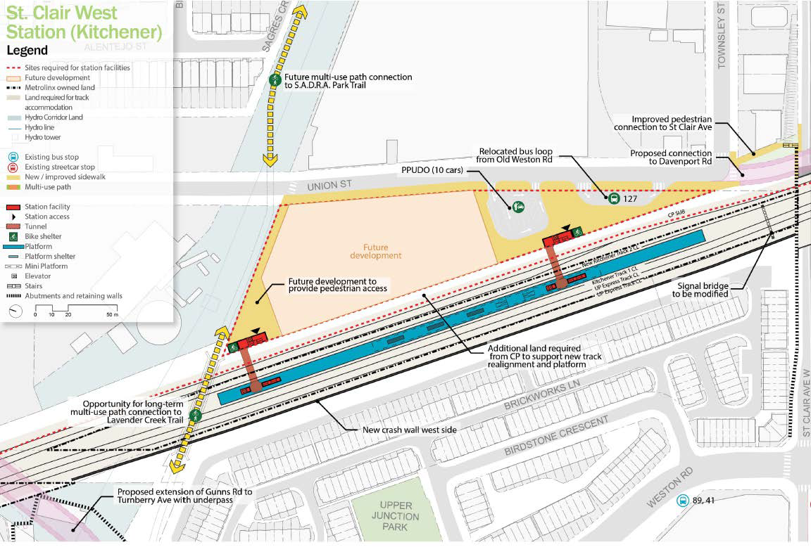 Plan for the proposed St. Clair West GO Station