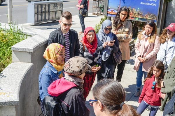 Our first stop was at Dufferin Station where we discussed solutions to the challenge of travelling safely, particularly for visibly Muslim women.