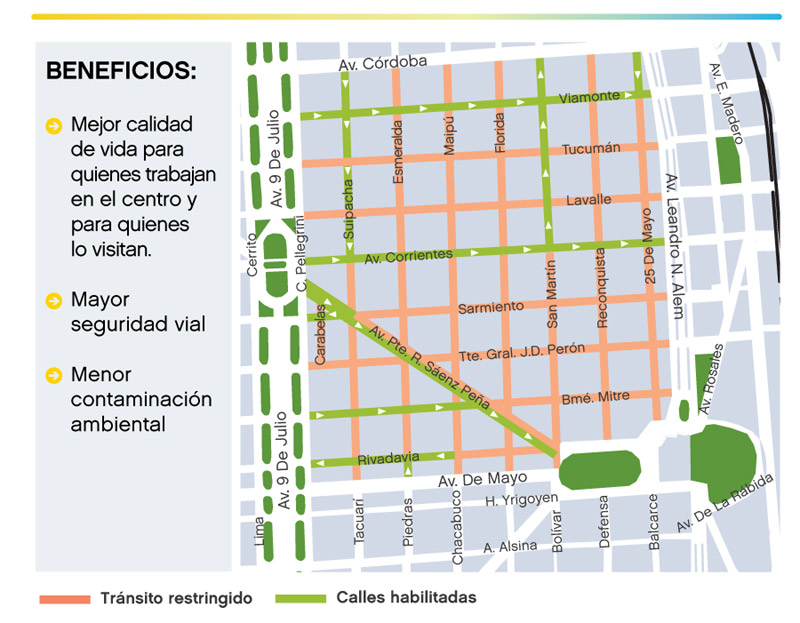 Map of pedestrian priority streets in Buenos Aires' Microcentro
