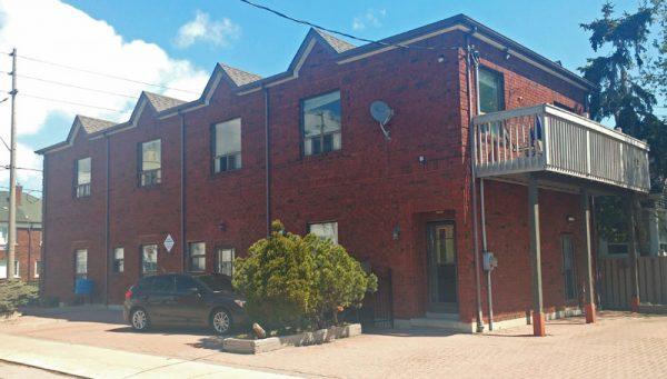 Corner apartment building