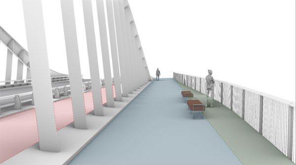 Image of sidewalk on new Port Lands bridge