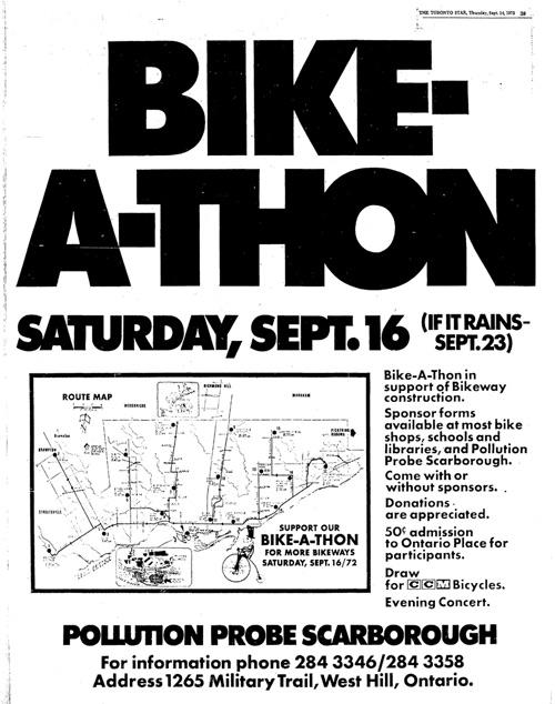 Sept. 16, 1972 Ad for Bikeathon for bikeways in Toronto Star