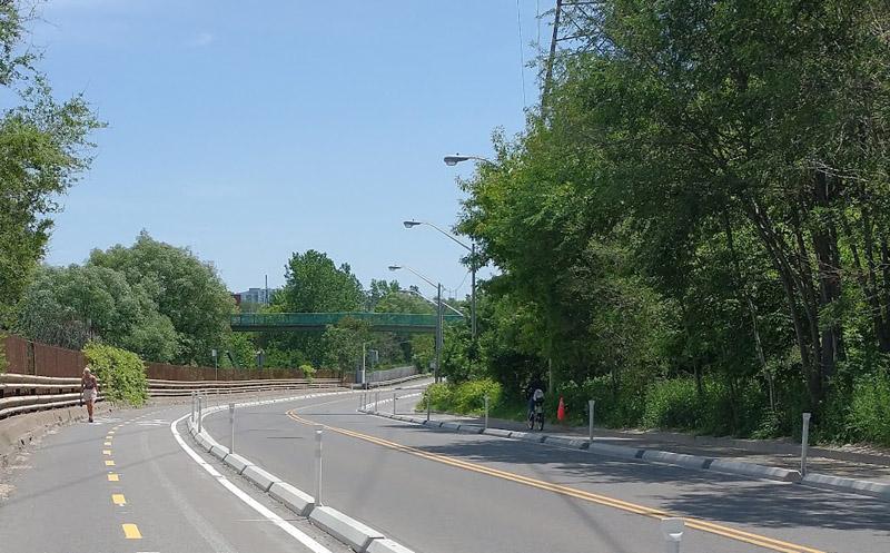 Bayview Avenue - no cars, one cyclist, one pedestrian
