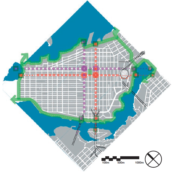 "The Double Cross creates a civic geometry for Vancouver's downtown. A completed SeaWall/Greenway loop would turn these cores into spokes of a public open space ""wheel"".Purple = Ceremonial / Red = Retail / Green = Greenway Seawall [Design: Brendan Hurley 2008]"