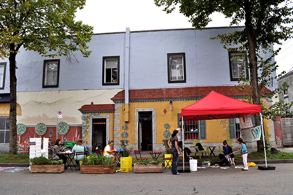 Temporary public space in front of Chocolaterie de la Nouvelle France in Mount Pleasant. Image: Kathleen Corey