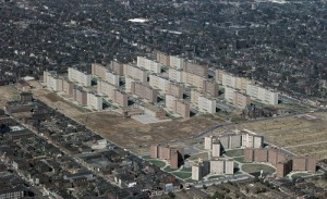 Pruitt Igoe: a failed urban renewal project in St.Louis,  Missouri, that was demolished only a few years  after it was built.