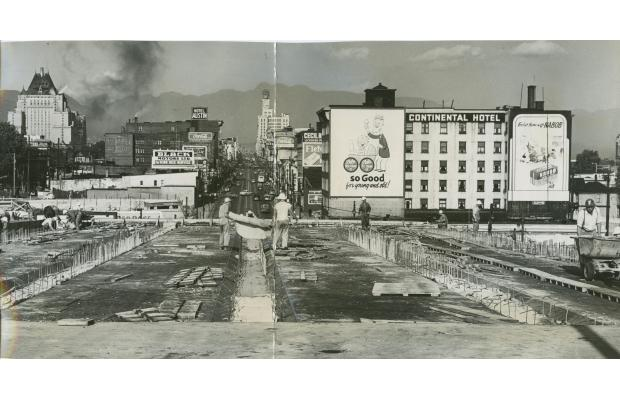 """photo credit: """"This Week in History: Five thousand people celebrated the 1954 opening of the Granville Bridge"""" By John Mackie, Vancouver Sun. February 1, 2014."""