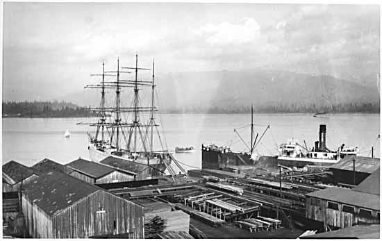 Photo Credit: Sailing ship and steamer at Hastings Mill. C 1900 VPL 2976