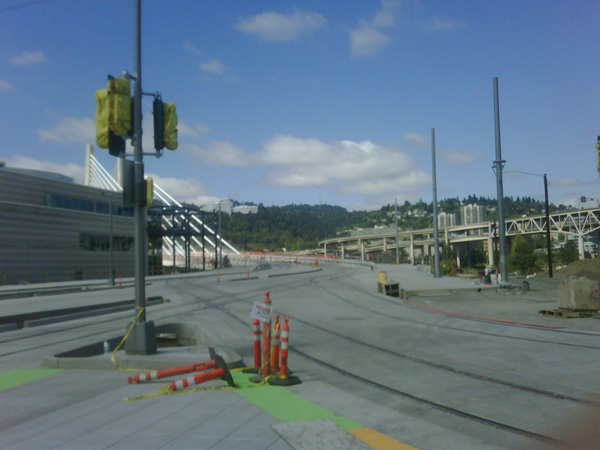 From the OMSI station, construction of the Tillikum Bridge with streetcar tracks already implemented. Image courtesy of Brittany Lee.