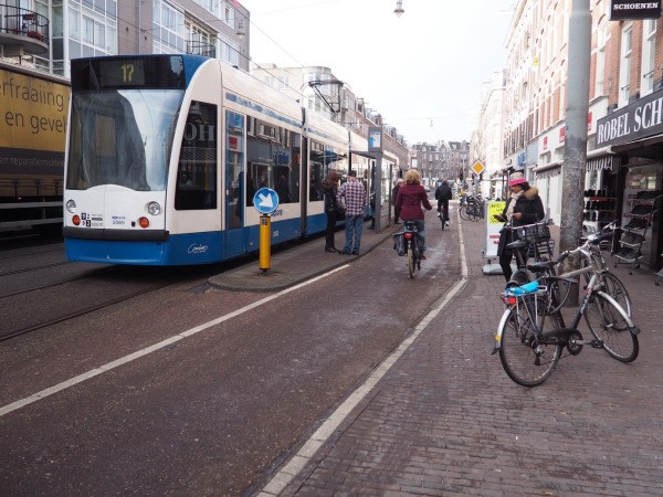 A floating tram stop allows cycling and transit to coexist efficiently.