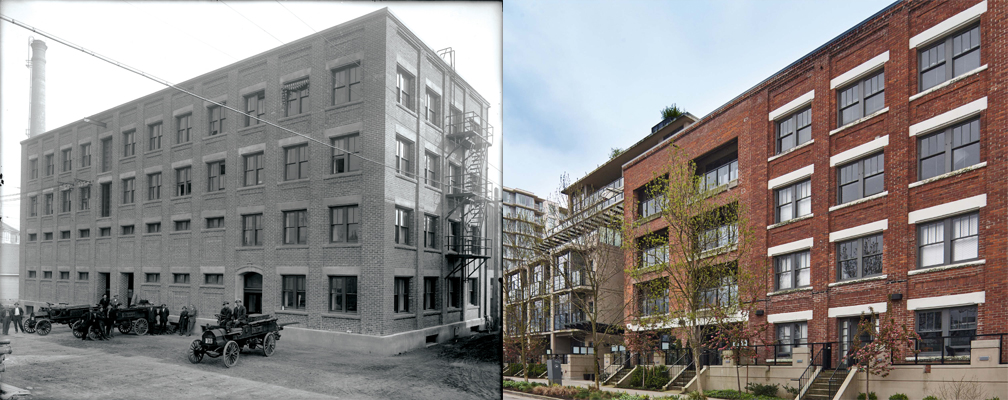 """""""B.C.Tel Building 1915 and 2015"""". 1915 image reproduced with kind permission of TELUS, CVA 17-19, AM339-S7, Leonard Frank photographer. 2015 image credit: Martin Knowles Photo/Media"""