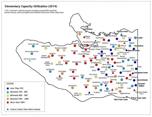 Ernst & Young map showing enrolment rates in Vancouver elementary schools. Blue representing schools that are underutilized. Red representing schools that are overcapacity.