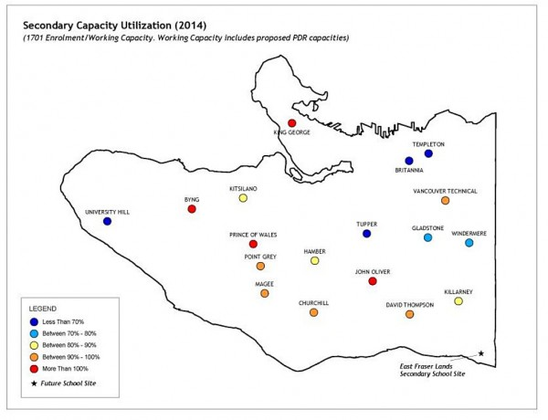 Ernst & Young map showing enrolment rates in Vancouver high schools. Blue representing schools that are underutilized. Red representing schools that are overcapacity.