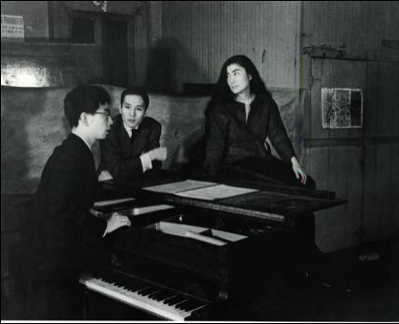 Yoko Ono and Toshi Ichiyanagi (at the piano), c. 1960-61. www.studyblue.com