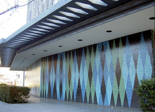 Tile work by B.C. Binning on the exterior of the BC Electric Building. via www.evelazarus.com