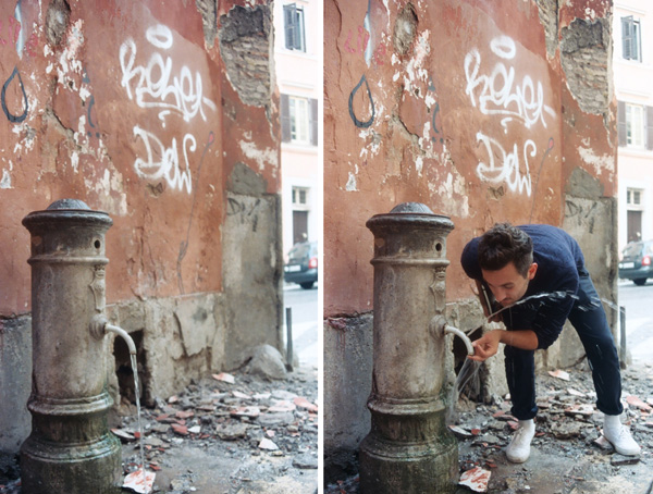 A drinking fountain in action in Rome.