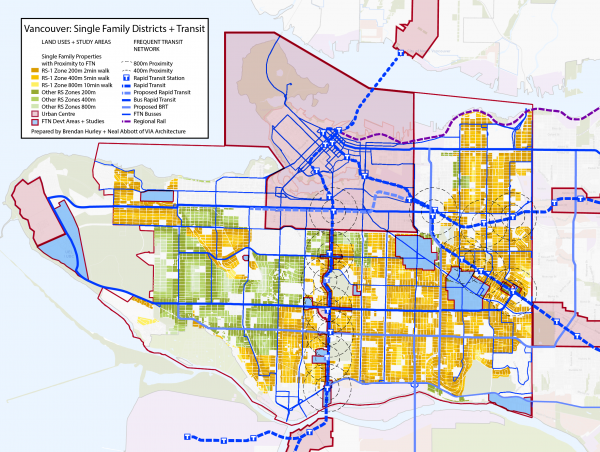 Map of Single Family Dwelling Districts + Transit in Vancouver developed by Brendan Hurley and Neal Abbott.