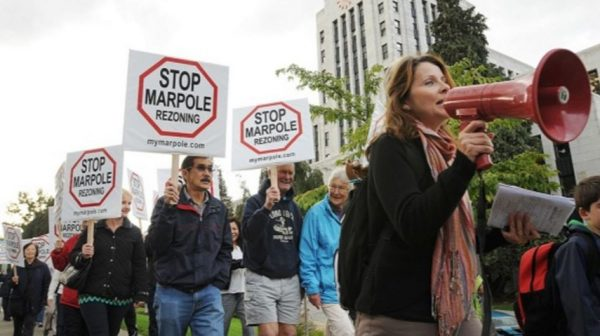 Hundreds of protestors object to Marpole rezoning proposals outside City Hall in September 2013 — Vancouver Courier,
