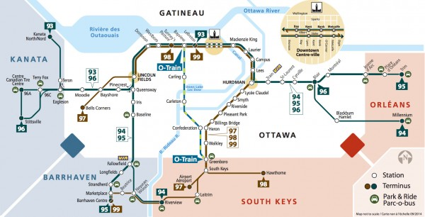 Oc Transpo Route Map OC Transpo gets graphic: The transitway map   Spacing Ottawa Oc Transpo Route Map